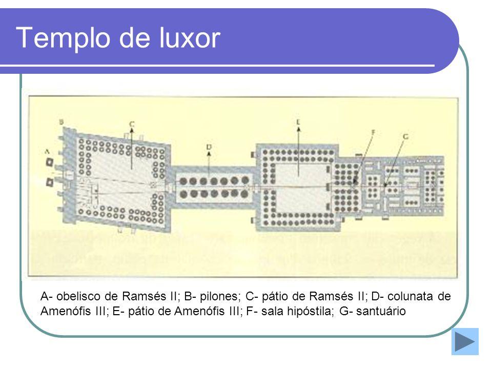 Templo de luxor A- obelisco de Ramsés II; B- pilones; C- pátio de Ramsés II; D- colunata de.