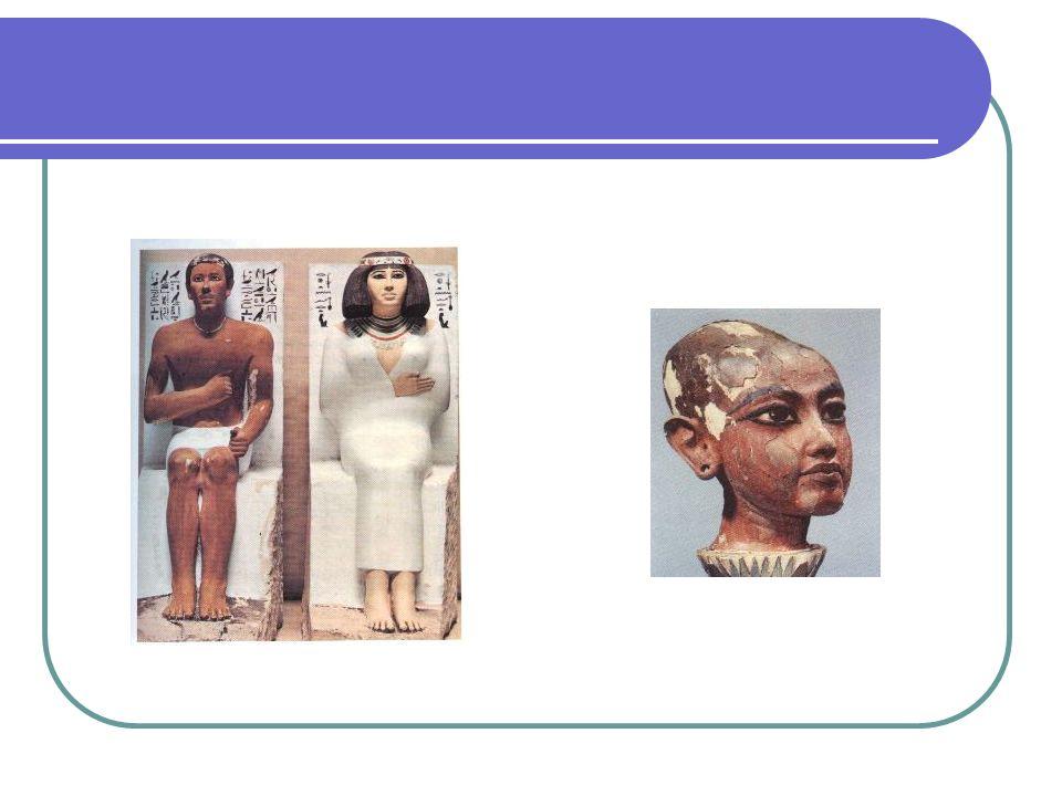 Fig.1 – príncipe Rahotep e a sua mulher Nofret, Duas esculturas de calcário separadas, com cerca de 120 cm de altura. O casal é caracterizado com ajuda da cor (amarelo claro para a mulher e ocre avermelhado para o homem)