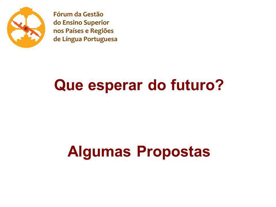 Que esperar do futuro Algumas Propostas