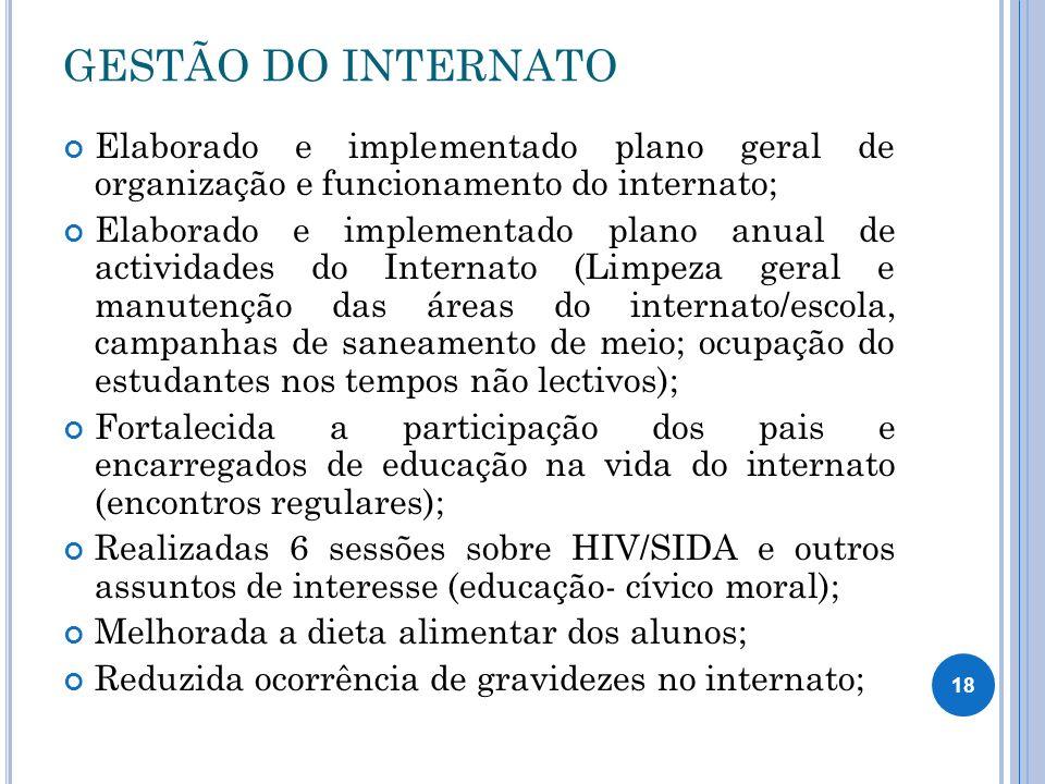 GESTÃO DO INTERNATO Elaborado e implementado plano geral de organização e funcionamento do internato;