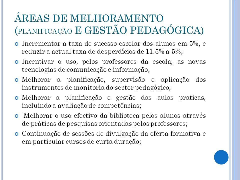 ÁREAS DE MELHORAMENTO (PLANIFICAÇÃO E GESTÃO PEDAGÓGICA)