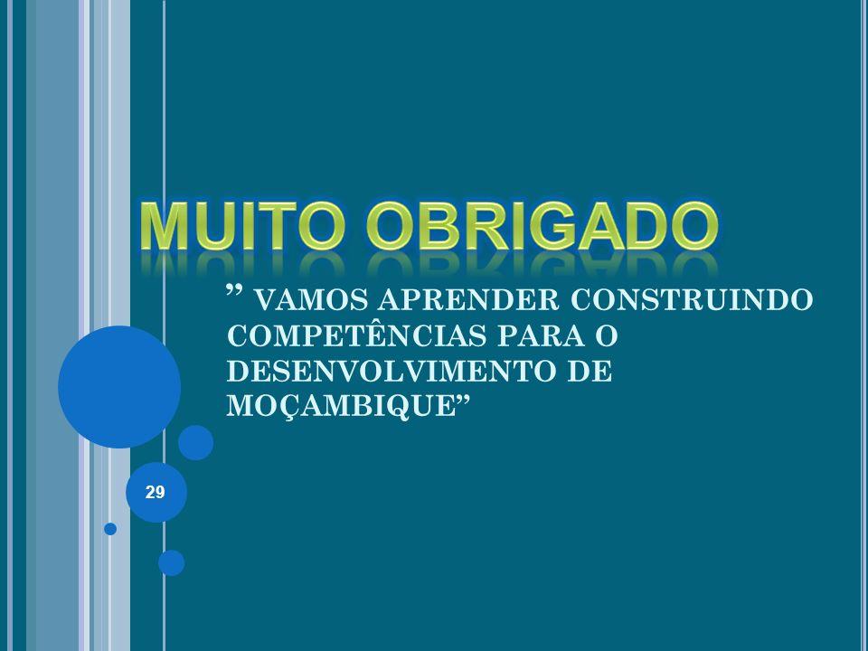 MUITO OBRIGADO VAMOS APRENDER CONSTRUINDO COMPETÊNCIAS PARA O DESENVOLVIMENTO DE MOÇAMBIQUE 29