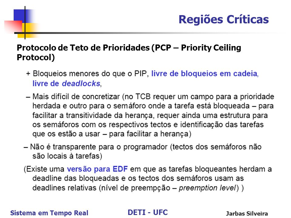 Regiões Críticas Protocolo de Teto de Prioridades (PCP – Priority Ceiling Protocol) Jarbas Silveira