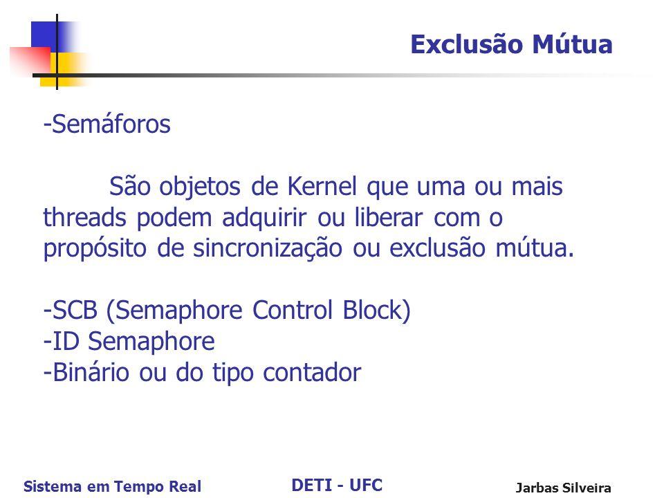 SCB (Semaphore Control Block) ID Semaphore Binário ou do tipo contador