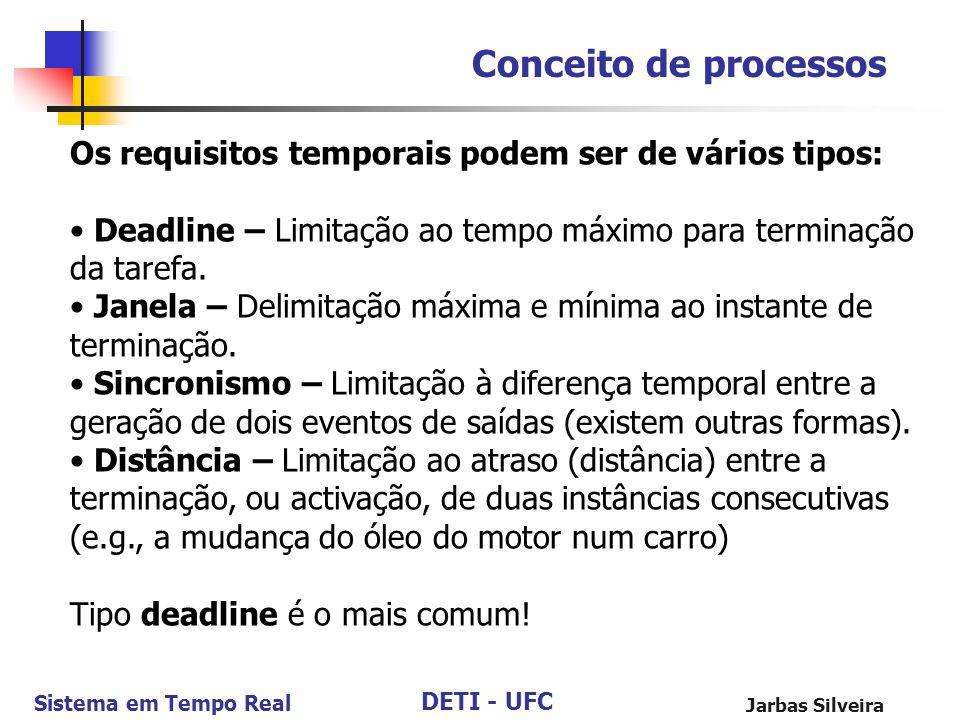 Conceito de processos Os requisitos temporais podem ser de vários tipos: • Deadline – Limitação ao tempo máximo para terminação da tarefa.