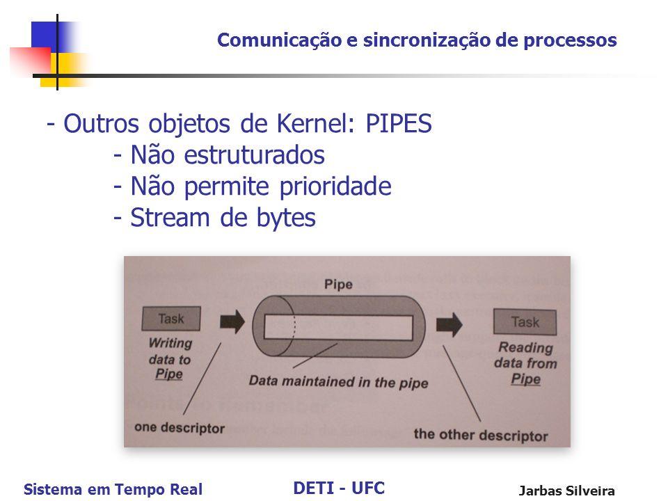 - Outros objetos de Kernel: PIPES - Não estruturados