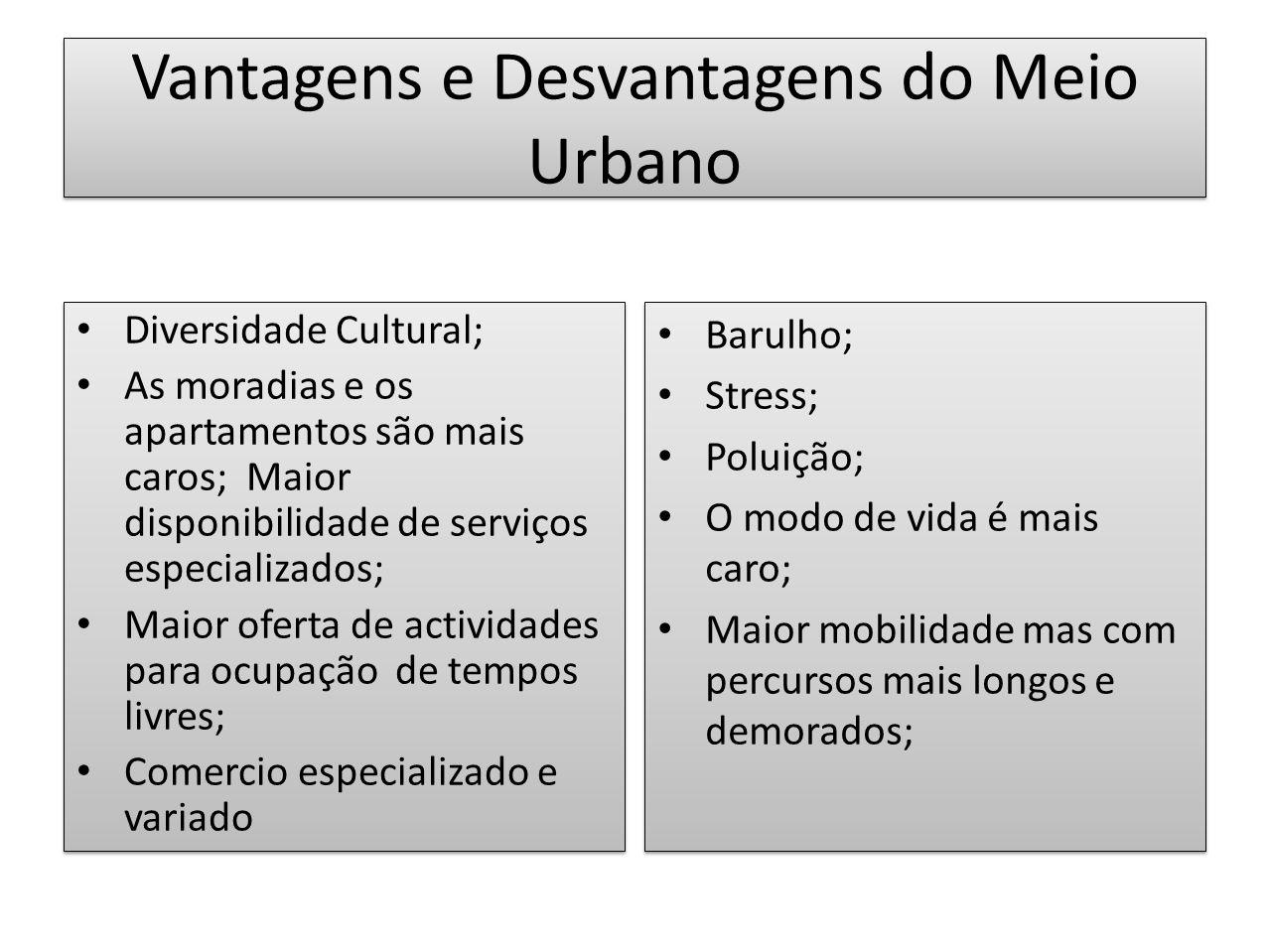 Vantagens e Desvantagens do Meio Urbano