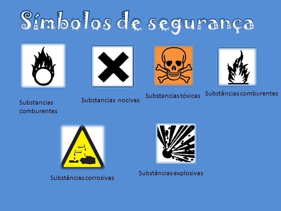 Símbolos de segurança Substâncias comburentes Substancias tóxicas