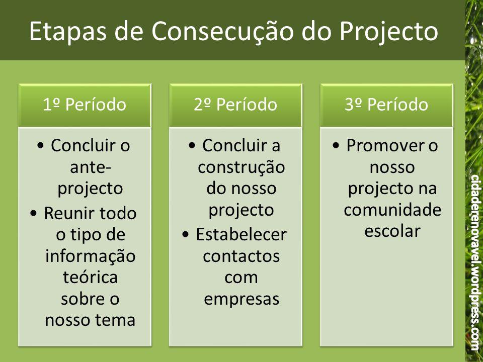 Etapas de Consecução do Projecto
