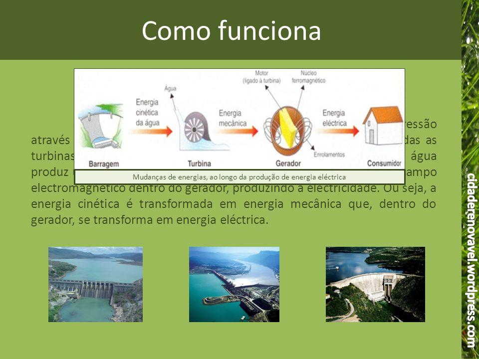 Mudanças de energias, ao longo da produção de energia eléctrica