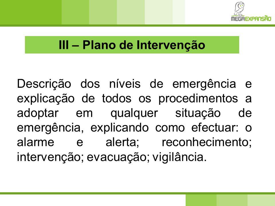 III – Plano de Intervenção