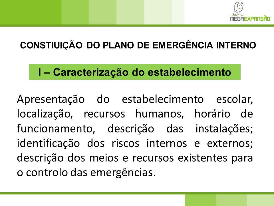 CONSTIUIÇÃO DO PLANO DE EMERGÊNCIA INTERNO