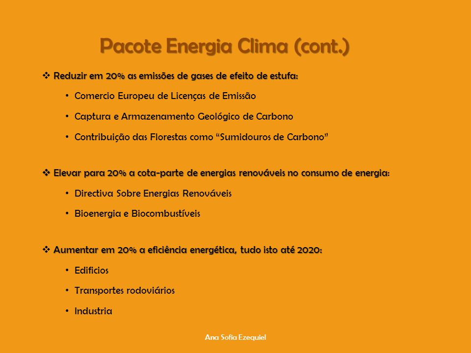 Pacote Energia Clima (cont.)