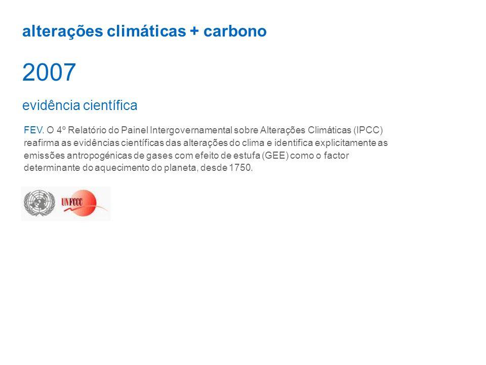 2007 alterações climáticas + carbono evidência científica
