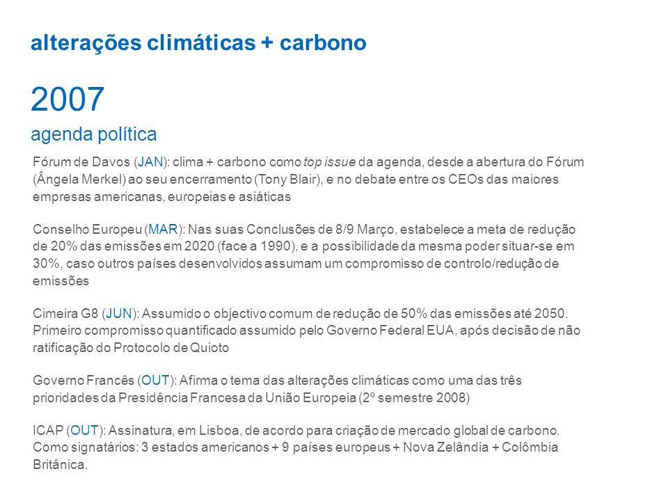 2007 alterações climáticas + carbono agenda política