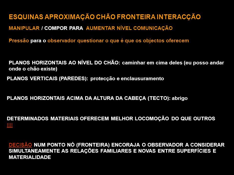 ESQUINAS APROXIMAÇÃO CHÃO FRONTEIRA INTERACÇÃO