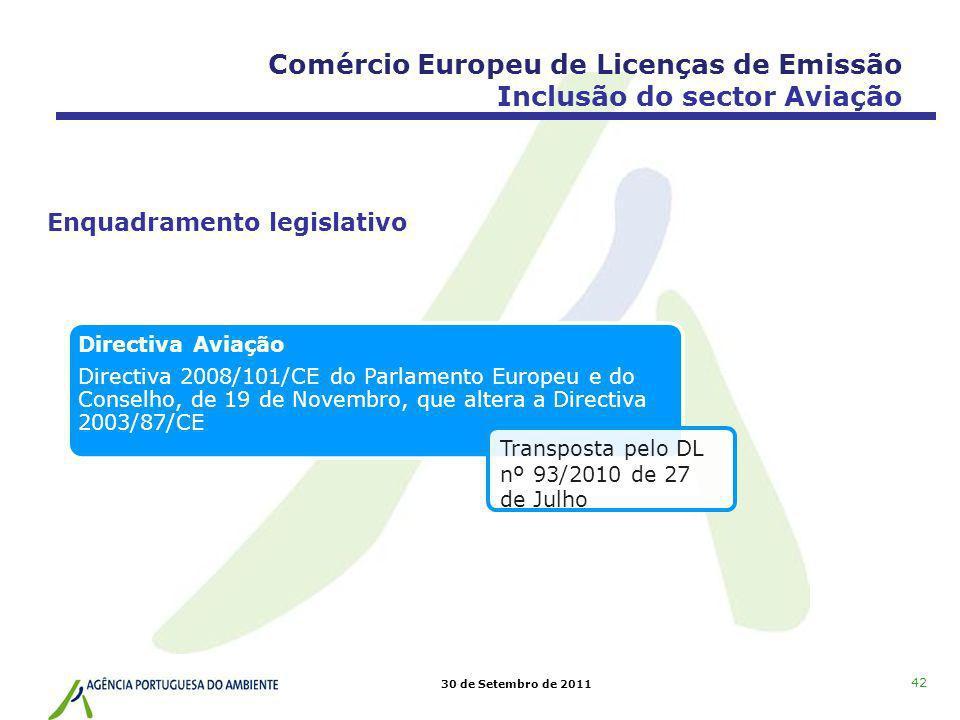 Comércio Europeu de Licenças de Emissão Inclusão do sector Aviação