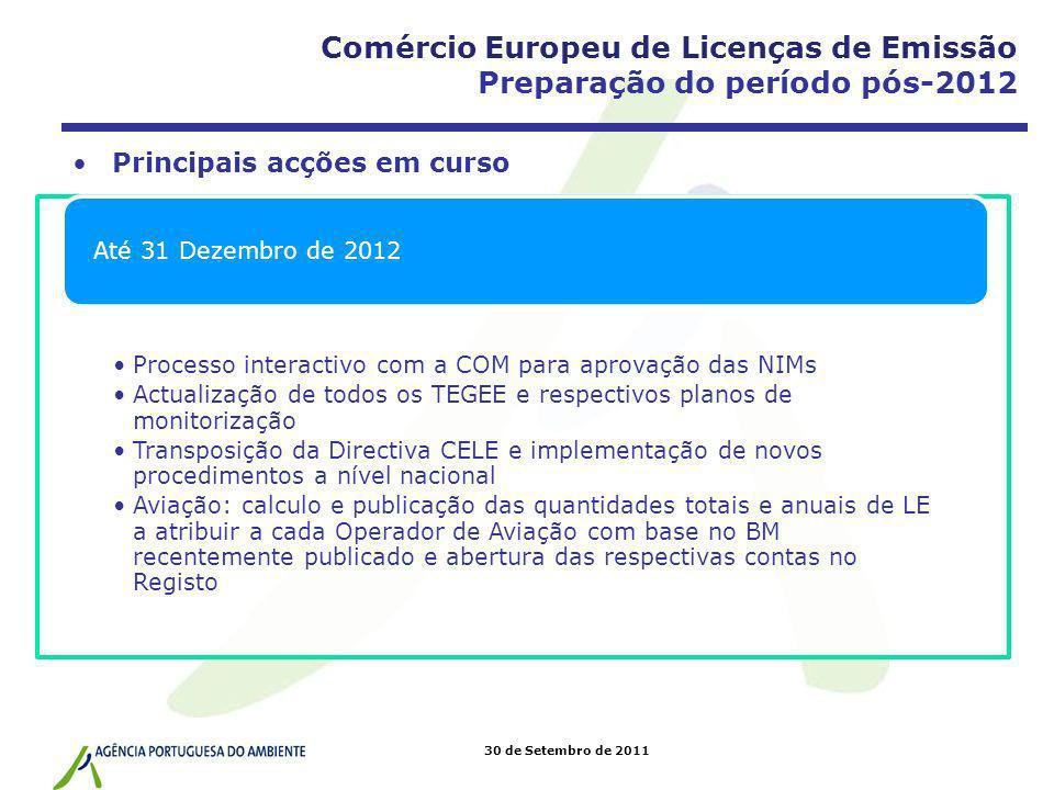 Comércio Europeu de Licenças de Emissão Preparação do período pós-2012