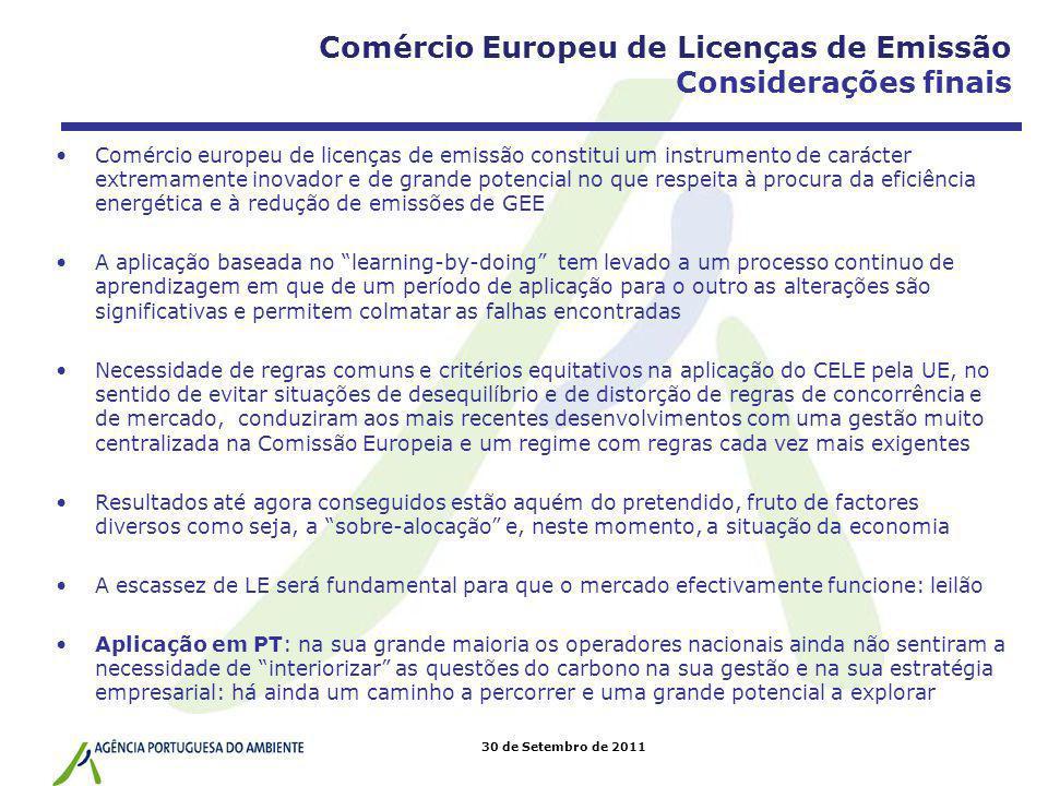 Comércio Europeu de Licenças de Emissão Considerações finais