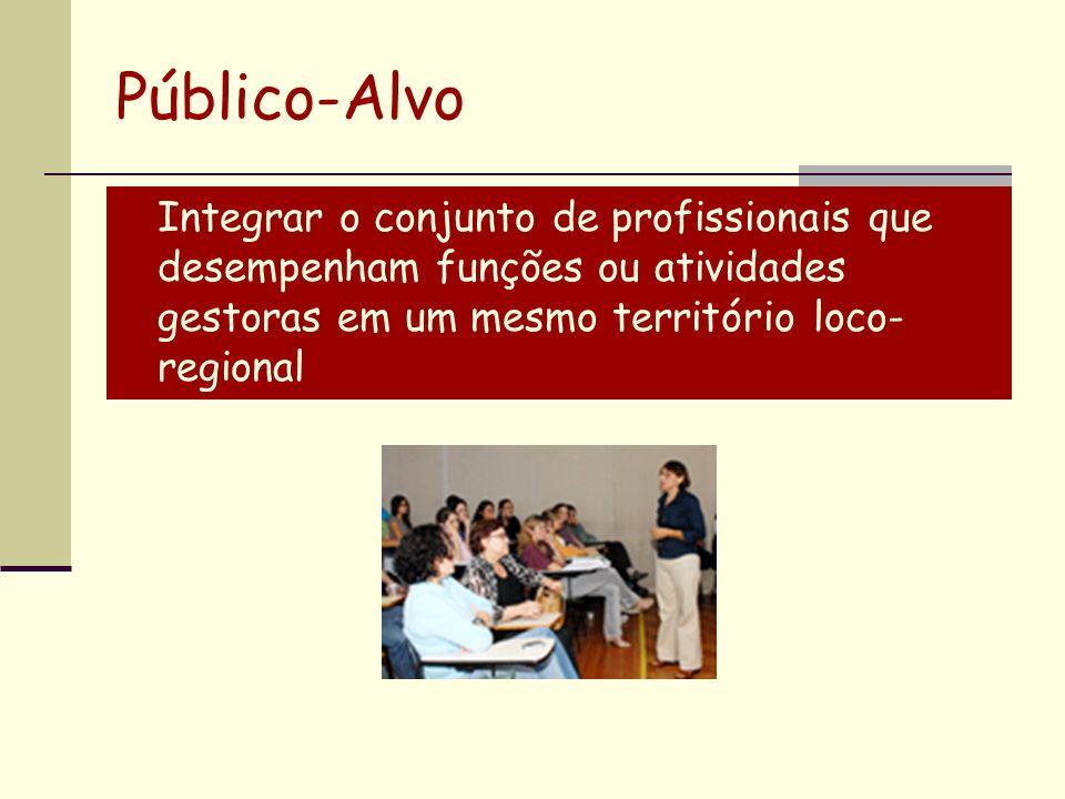 Público-Alvo Integrar o conjunto de profissionais que desempenham funções ou atividades gestoras em um mesmo território loco-regional.