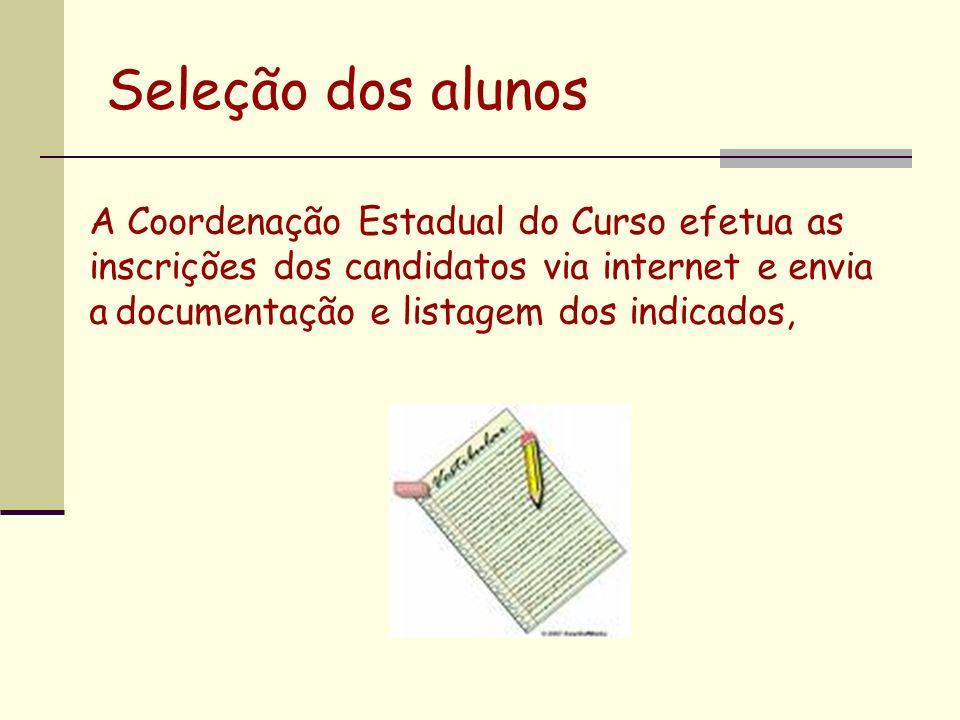 Seleção dos alunos A Coordenação Estadual do Curso efetua as inscrições dos candidatos via internet e envia a documentação e listagem dos indicados,