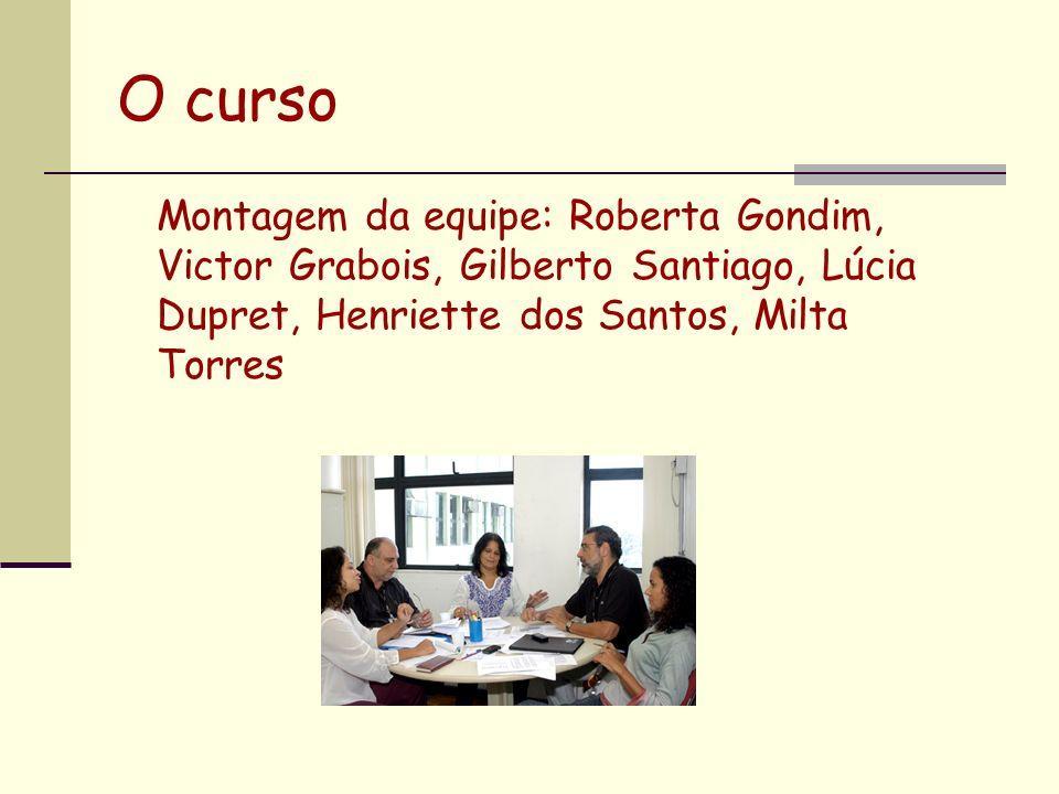 O curso Montagem da equipe: Roberta Gondim, Victor Grabois, Gilberto Santiago, Lúcia Dupret, Henriette dos Santos, Milta Torres.