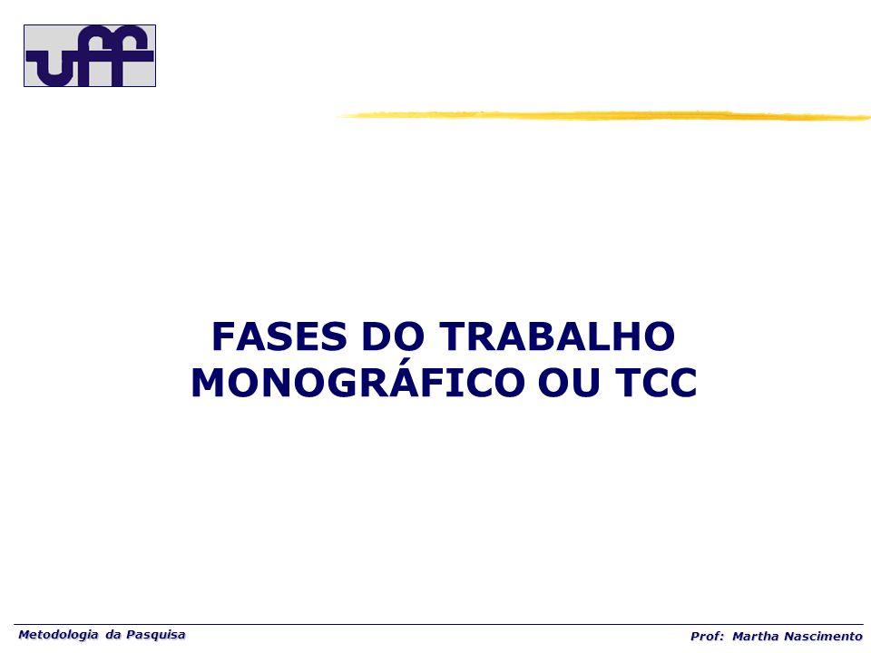 FASES DO TRABALHO MONOGRÁFICO OU TCC