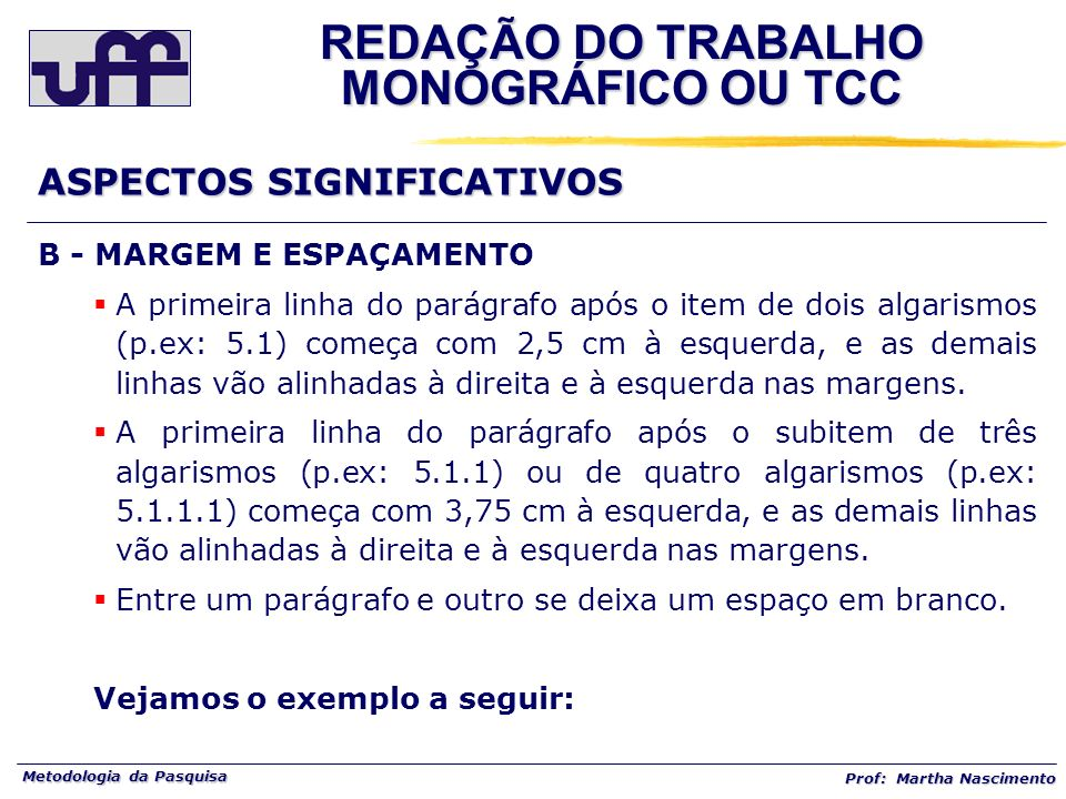 REDAÇÃO DO TRABALHO MONOGRÁFICO OU TCC