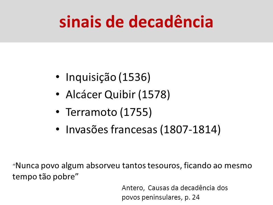 sinais de decadência Inquisição (1536) Alcácer Quibir (1578)