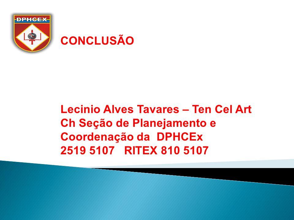 CONCLUSÃO Lecinio Alves Tavares – Ten Cel Art