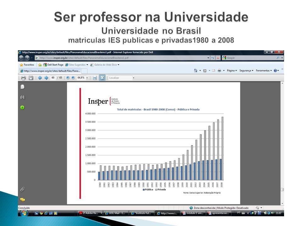 Ser professor na Universidade Universidade no Brasil matriculas IES publicas e privadas1980 a 2008