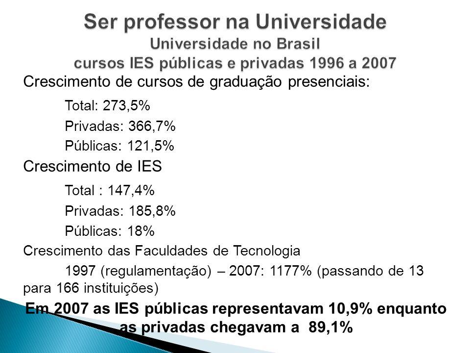 Ser professor na Universidade Universidade no Brasil cursos IES públicas e privadas 1996 a 2007
