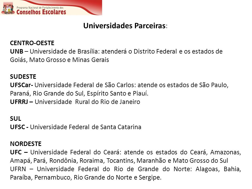 Universidades Parceiras: