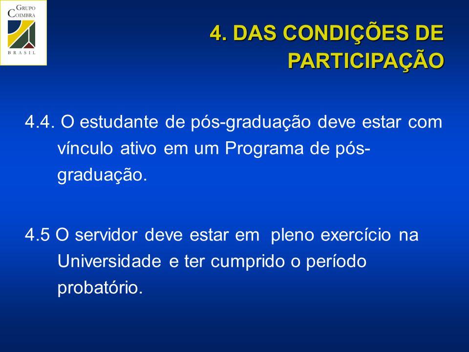 4. DAS CONDIÇÕES DE PARTICIPAÇÃO