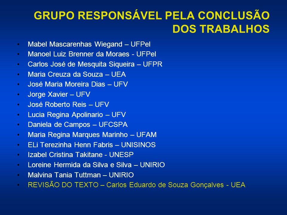 GRUPO RESPONSÁVEL PELA CONCLUSÃO DOS TRABALHOS