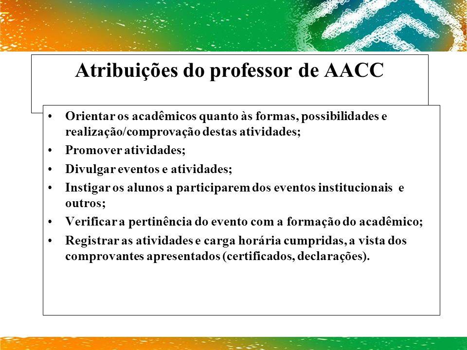 Atribuições do professor de AACC
