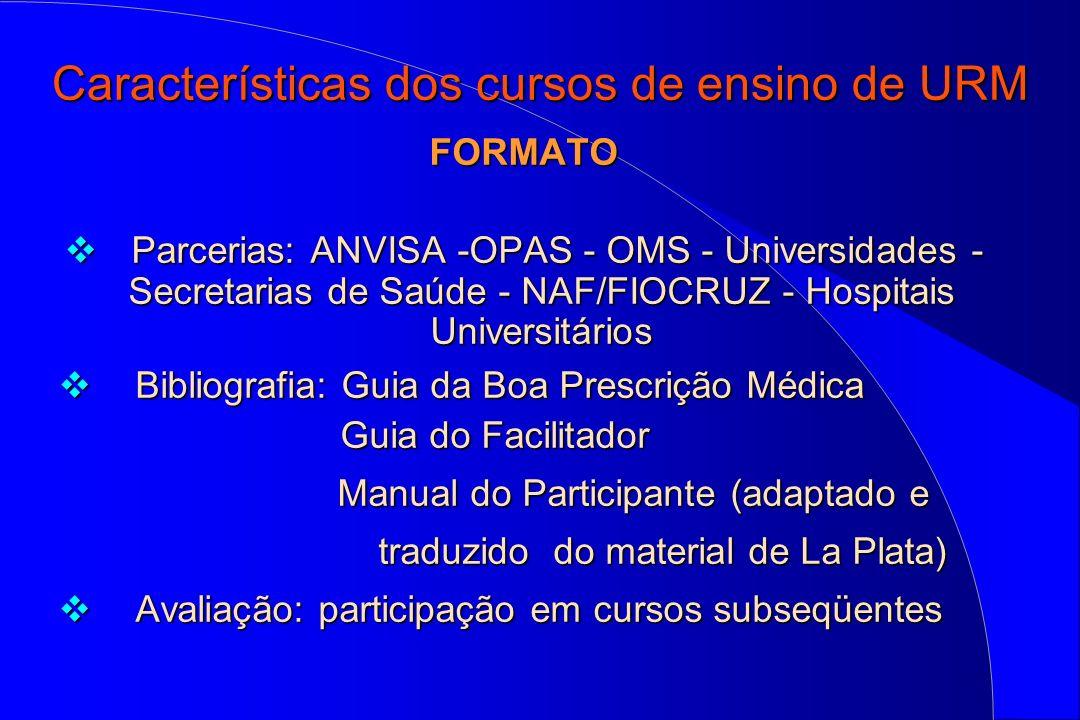 Características dos cursos de ensino de URM