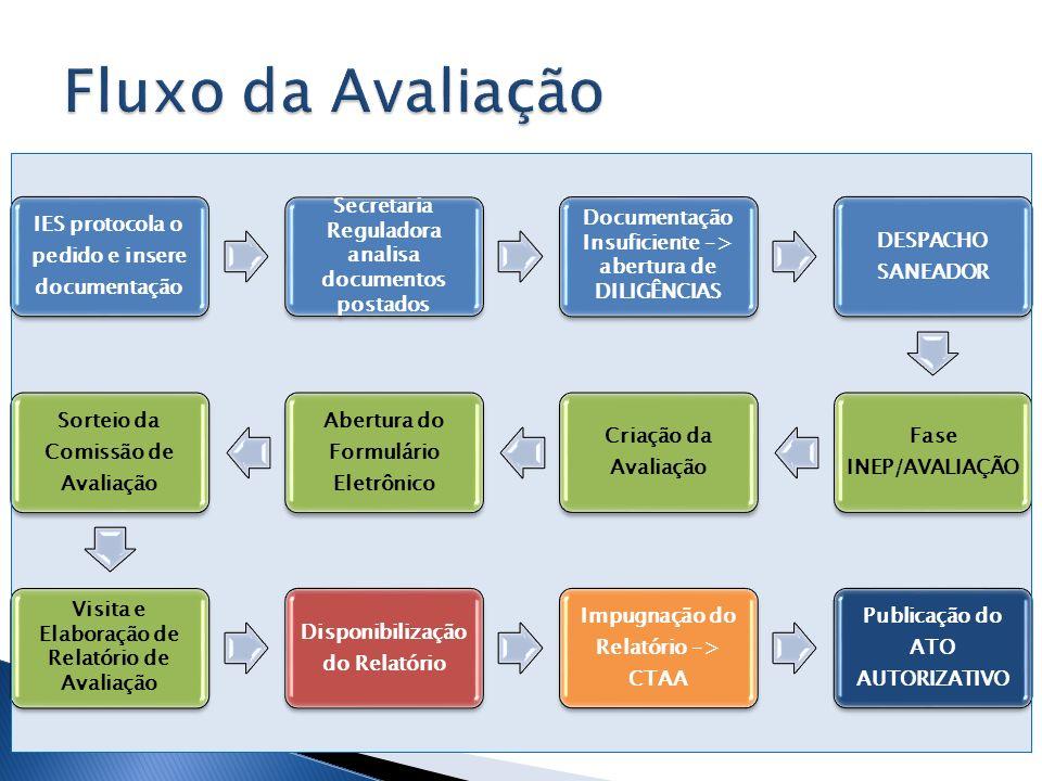 Fluxo da Avaliação IES protocola o pedido e insere documentação