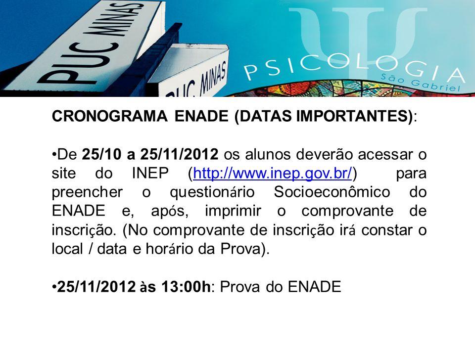 CRONOGRAMA ENADE (DATAS IMPORTANTES):