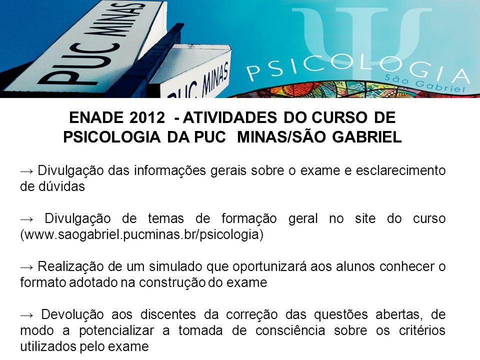 ENADE 2012 - ATIVIDADES DO CURSO DE PSICOLOGIA DA PUC MINAS/SÃO GABRIEL