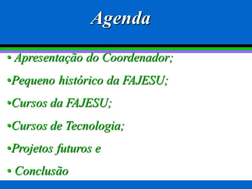 Agenda Apresentação do Coordenador; Pequeno histórico da FAJESU;