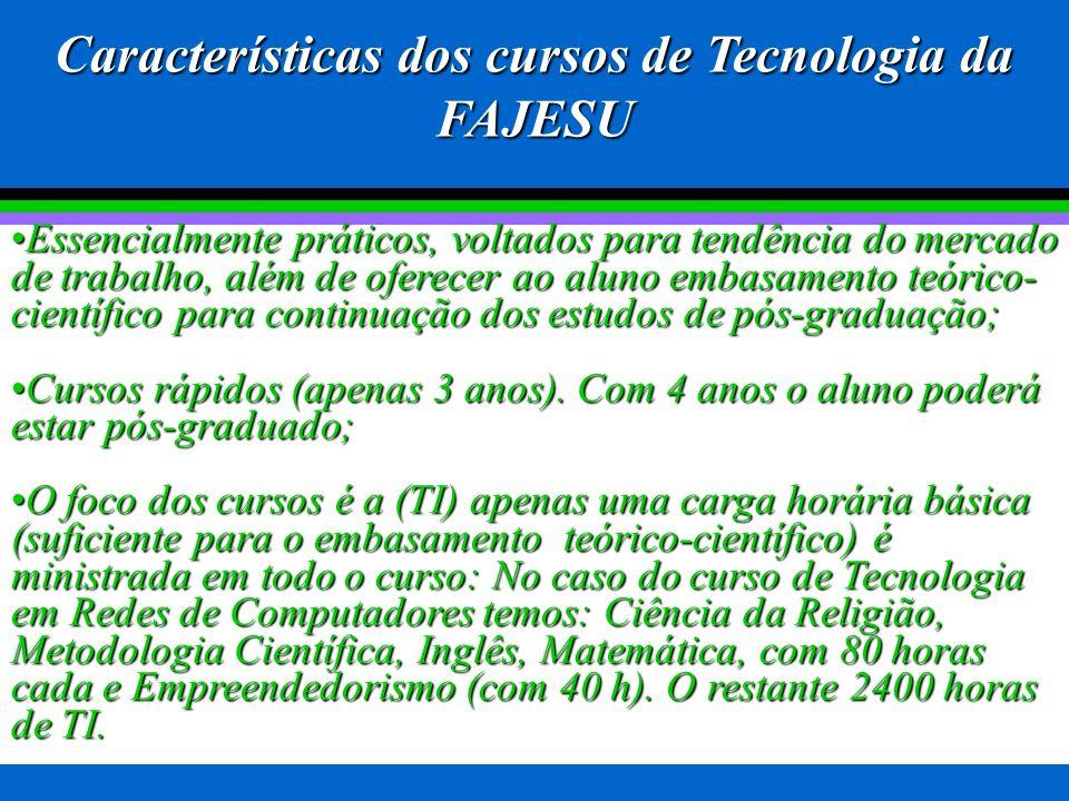 Características dos cursos de Tecnologia da FAJESU