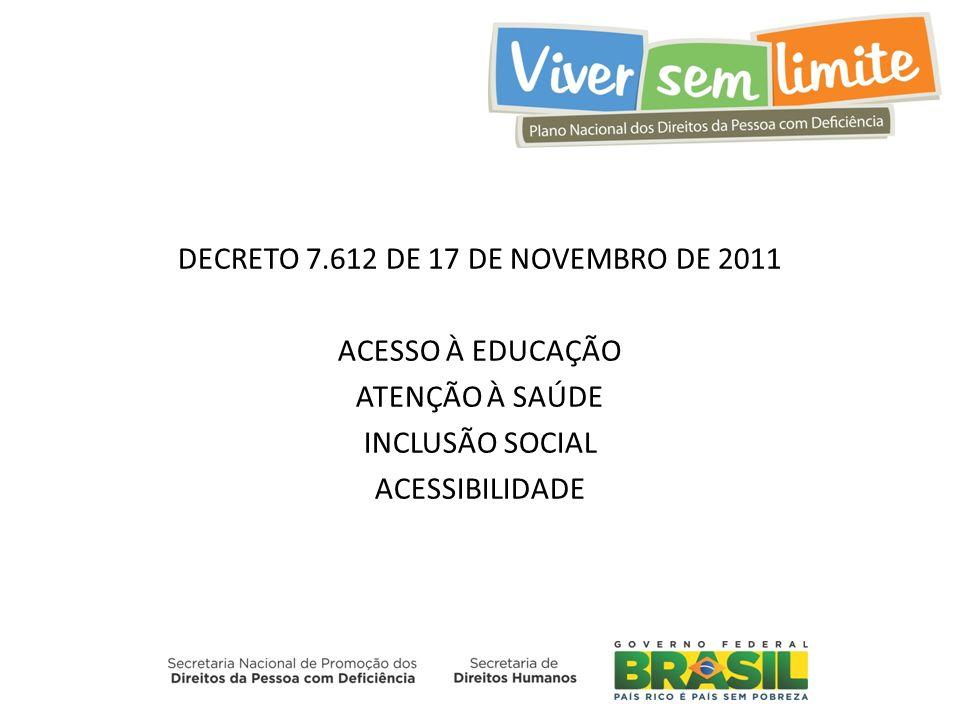 DECRETO 7.612 DE 17 DE NOVEMBRO DE 2011 ACESSO À EDUCAÇÃO ATENÇÃO À SAÚDE INCLUSÃO SOCIAL ACESSIBILIDADE