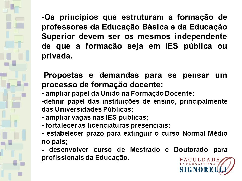 Propostas e demandas para se pensar um processo de formação docente: