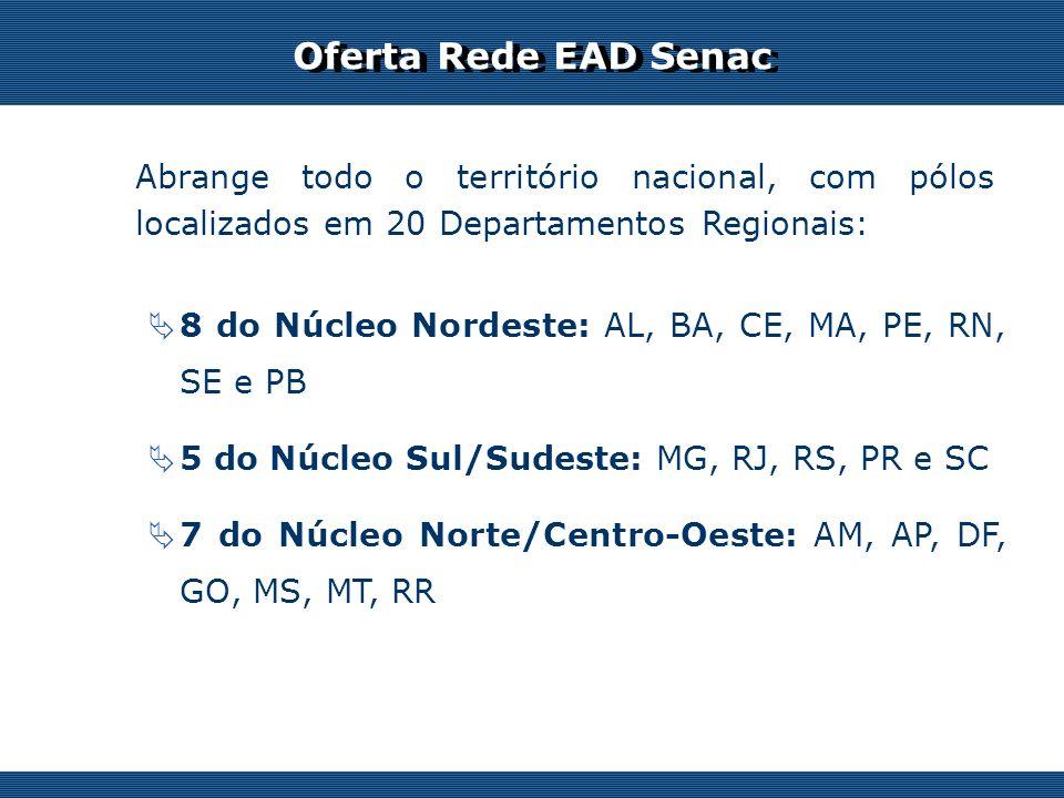 Oferta Rede EAD Senac Abrange todo o território nacional, com pólos localizados em 20 Departamentos Regionais: