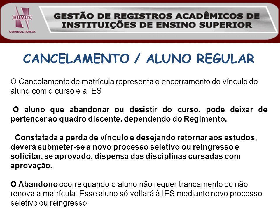 CANCELAMENTO / ALUNO REGULAR