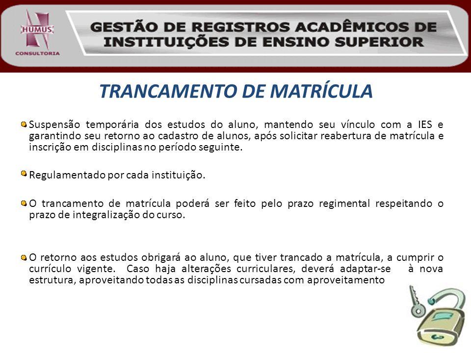TRANCAMENTO DE MATRÍCULA