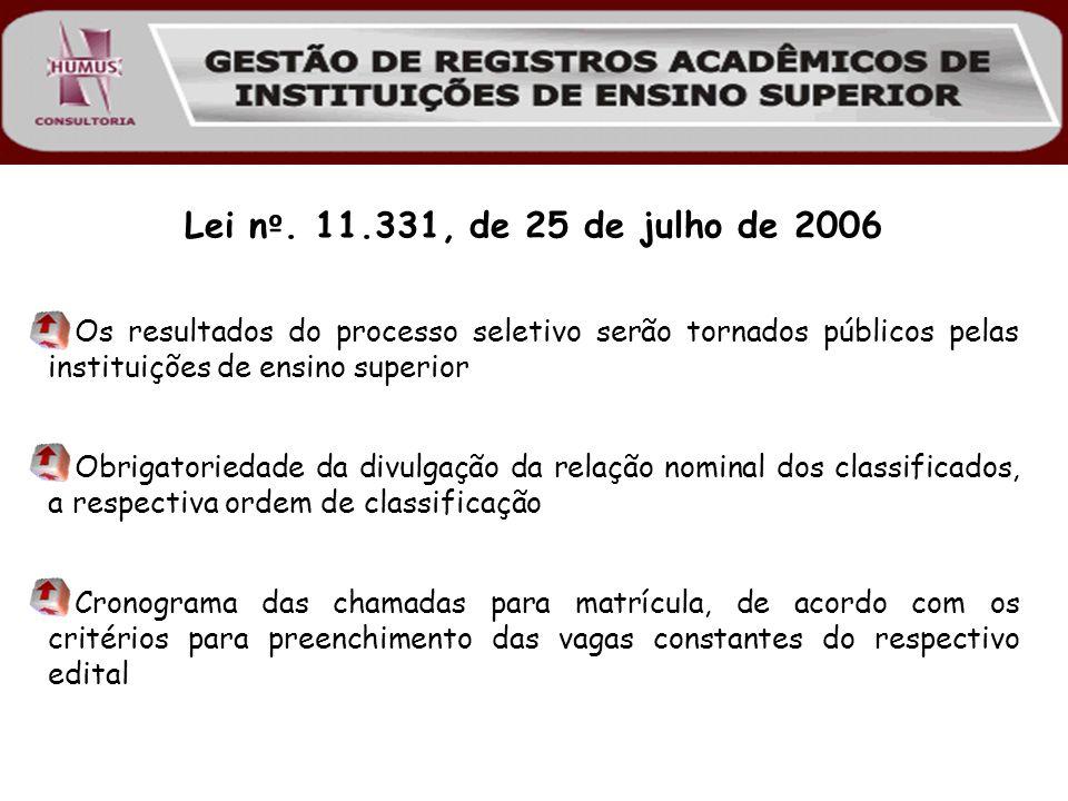 Lei nº. 11.331, de 25 de julho de 2006 Os resultados do processo seletivo serão tornados públicos pelas instituições de ensino superior.