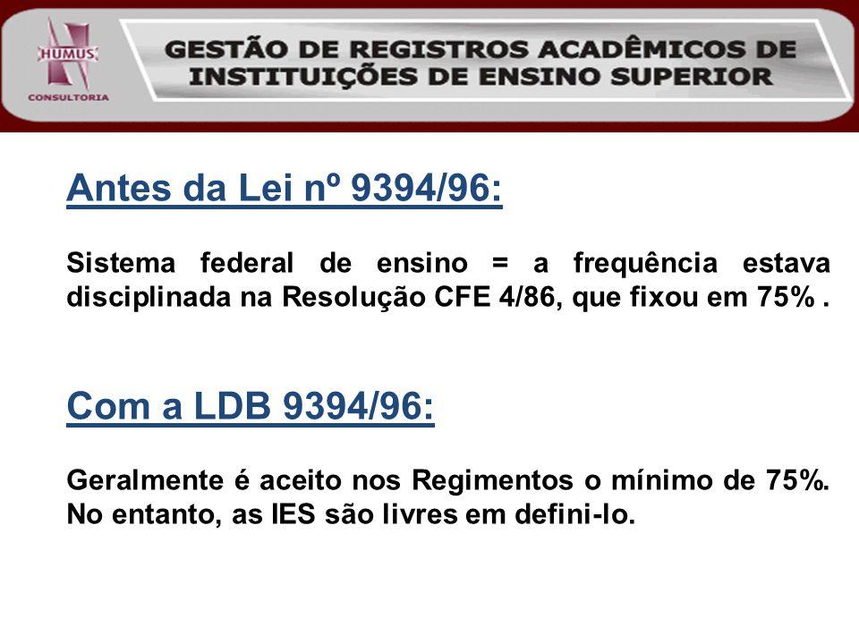 Antes da Lei nº 9394/96: Com a LDB 9394/96: