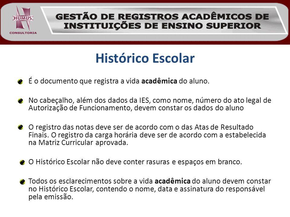 Histórico Escolar É o documento que registra a vida acadêmica do aluno.